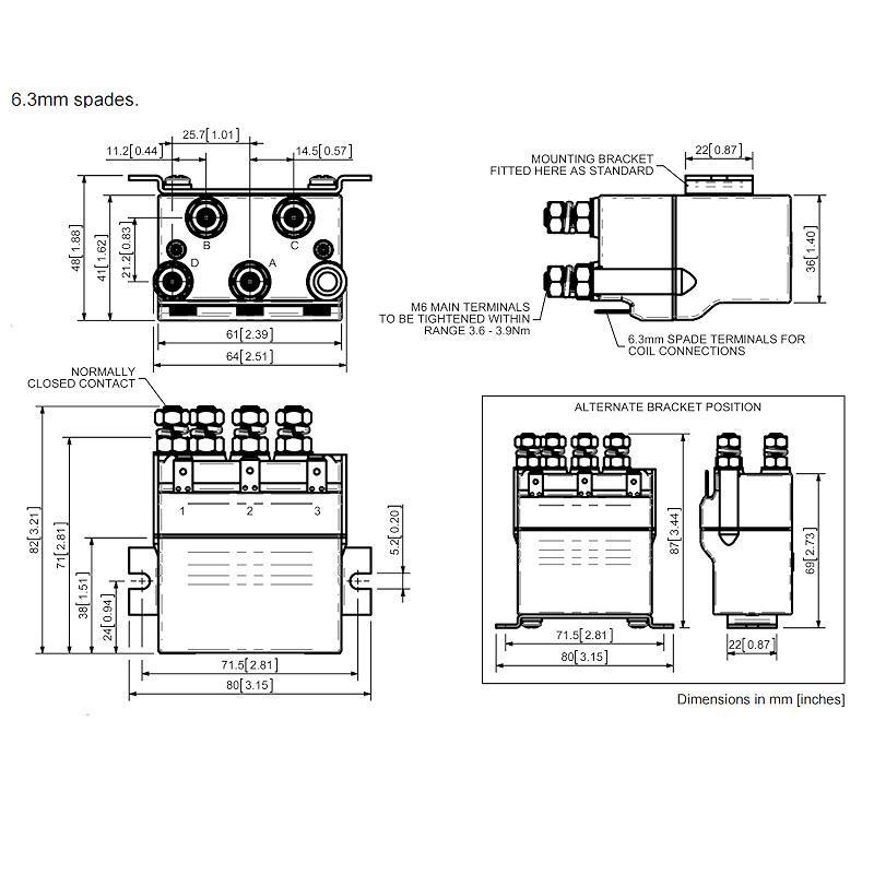 DC66-10P Albright 24V DC Motor Reversing Solenoid Intermittent 80A on